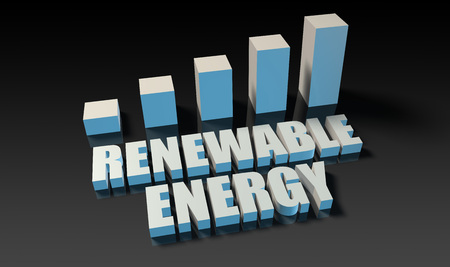 experienced: Renewable energy graph chart in 3d on blue and black Stock Photo