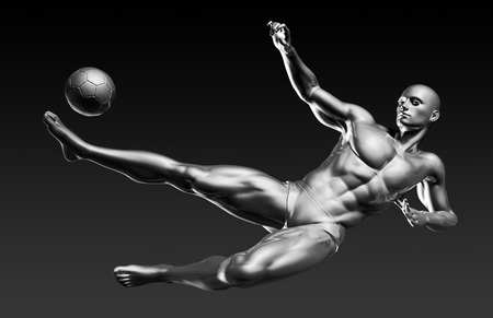 striker: Football Sport with Player Taking a High Kick