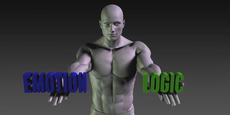 logica: Emoción vs lógica del concepto de elegir entre las dos opciones
