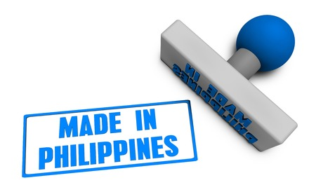 filipino: Made in Philippines Stamp or Chop on Paper Concept in 3d Stock Photo
