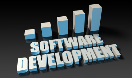 experienced: Software development graph chart in 3d on blue and black Stock Photo