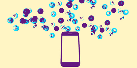downloading content: Smartphone Content Distribution Mobile Industry Concept Art
