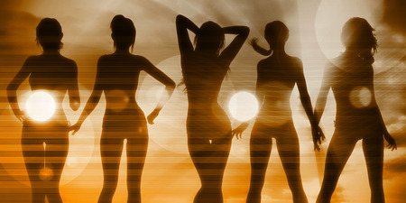woman pose: Beach Babes Sunset Silhouette Enjoying the Sun Stock Photo