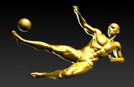 scoring: Football Player Scoring a Winning Goal in Mid Air