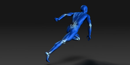 running man: Human Anatomy with Visible Skeleton and Muscles Art