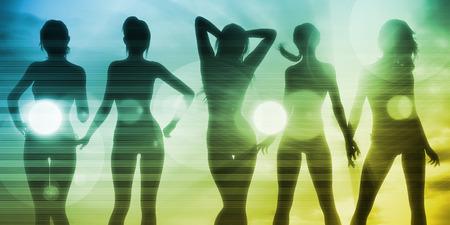 friends having fun: Disco Nightclub Background as an Illustration Concept