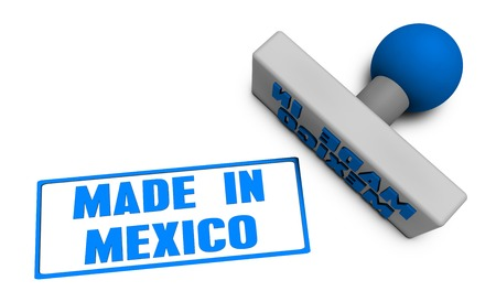 chop: Made in Mexico Stamp or Chop on Paper Concept in 3d