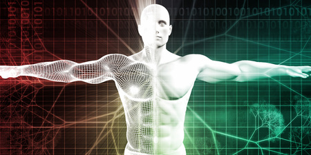 arms open: Medical Science with Human Body and Open Arms for Scan