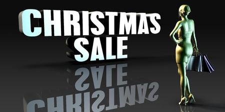 lady shopping: Christmas Sale as a Concept with Lady Holding Shopping Bags Stock Photo