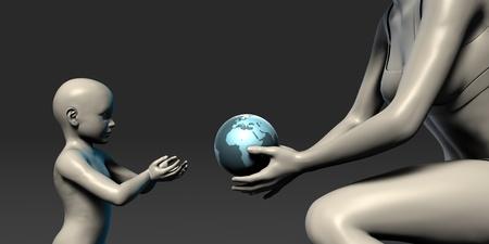 hipotesis: Madre Tierra Proporcionar a sus hijos como concepto Foto de archivo