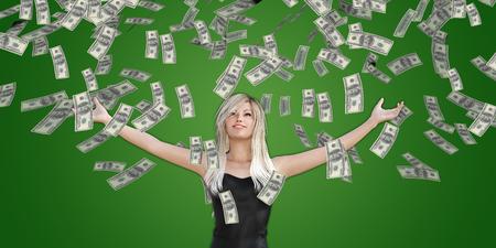 Frauen-anziehende Geld vom Himmel fallen in US-Dollar