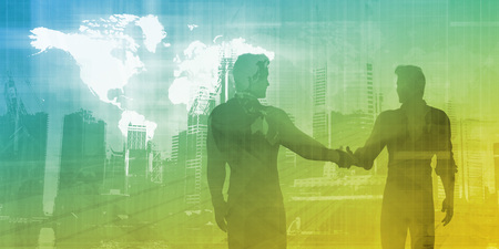 business finance: Business Finance Industry with Men Shaking Hands Stock Photo
