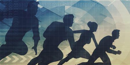 konzepte: Teamwork-Konzept mit Silhouette von Business-Team