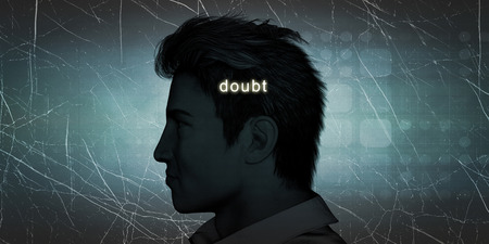doubt: Man Experiencing Doubt as a Personal Challenge Concept