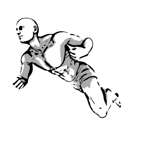symbolics: Comic Book Hero Pose in Sketch Ink Illustration