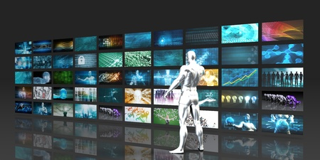 into: Man Looking into Video Wall Screens in 3d