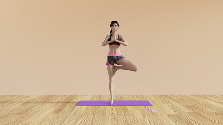 yoga class: Yoga Class Tree Pose Illustration with Female Instructor Stock Photo