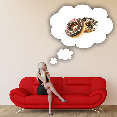 unhealthy thoughts: Woman Craving Donuts and Thinking About Eating Food