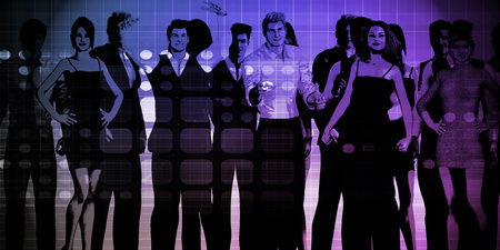 coworker: Business Team Professionals with Group Illustration With Sky Stock Photo