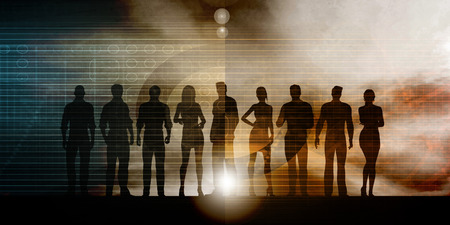 coworker: Business Team Professionals with Silhouettes Illustration With Sky