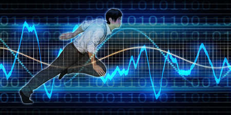 asian business: Successful Business with Asian Woman and Graph Background Stock Photo