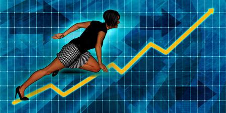 executive women: Senior Businesswoman Running with Chart Graph Background Art Stock Photo