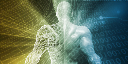 futuristic man: Digital Lifestyle and Futuristic Man Using Technology Stock Photo
