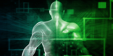 AI: Human Implant Concept Technology as a Illustration Stock Photo