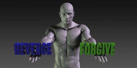 venganza: Perdona vs venganza concepto de elegir entre las dos opciones Foto de archivo
