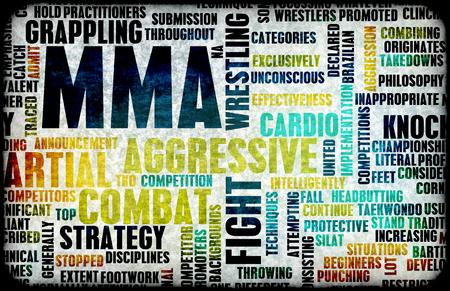 artes marciales mixtas: Mixed Martial Arts or MMA as a Grunge Concept Background