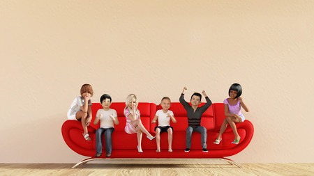 school girl: Kids on a Sofa Watching TV as Illustration