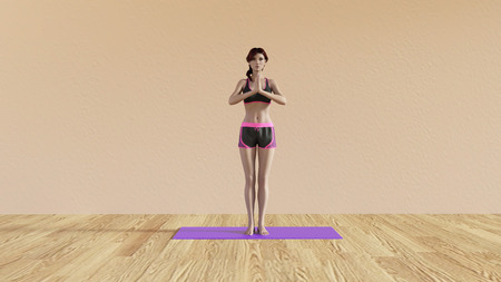 the instructor: Yoga Class Greeting Pose Illustration with Female Instructor