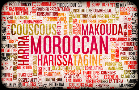 listing: Moroccan Food and Cuisine Menu Background with Local Dishes