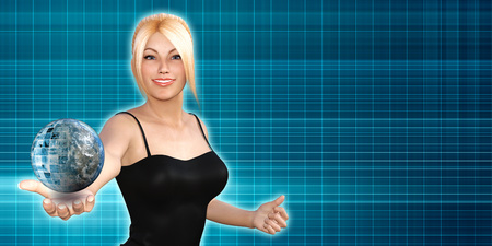 innovator: Global Technology Concept with Woman Holding Globe