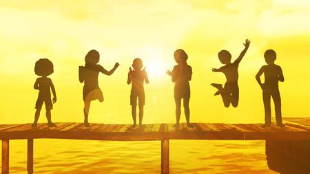 jezior: Dzieci bawiących się w okresie letnim na molo