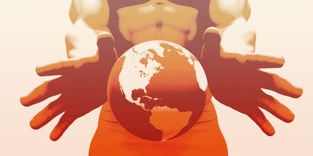 hands holding globe: Hands Holding Globe and Environmental Awareness or Clean Power Stock Photo