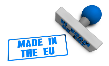 chop: Made in the EU Stamp or Chop on Paper Concept in 3d Stock Photo