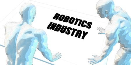 robotics: Robotics Industry Discussion and Business Meeting Concept Art Stock Photo