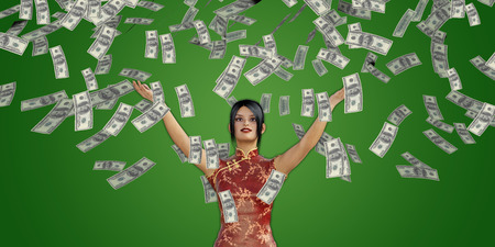 lloviendo: Asian Woman Catching Money Falling From the Sky in US Dollars