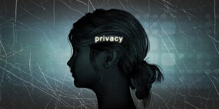 privacidad: Frente a la mujer de privacidad como un desafío personal concepto