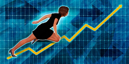 latina: Hispanic Businesswoman Running with Chart Graph Background Art Stock Photo