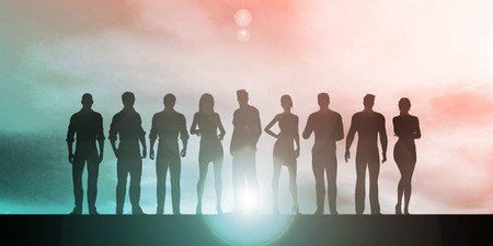 abstract business: Silhouette of Business People on a Sunset Background as Abstract Stock Photo