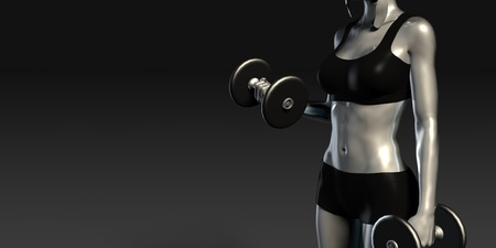 creative strength: Metal Steel Woman Lifting Weights as a Fitness Concept