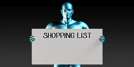 man carrying: Shopping List with a Man Carrying Reminder Sign