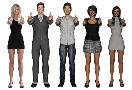Successful Business People with Thumbs Up and Smiling Isolated Stock Photo