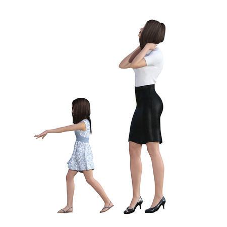 demanding: Mother Daughter Interaction of Bossy Girl as an Illustration Concept Stock Photo