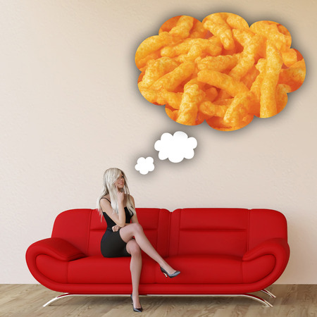 craving: Woman Craving Junk Food and Thinking About Eating Food