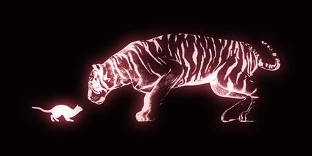 confianza: La confianza como un concepto de negocio con el gatito y del tigre