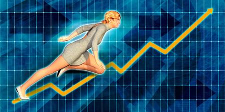 executive women: Caucasian Businesswoman Running with Chart Graph Background Art