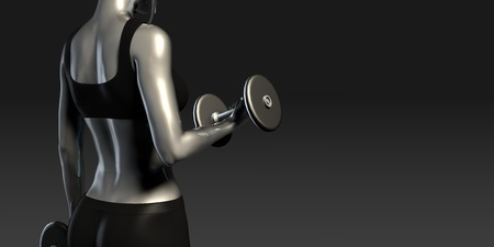 girl working out: Girl Working Out with Weights Banner Concept Stock Photo